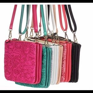 Handbags - Pink Faux Leather and Lace Crossbody